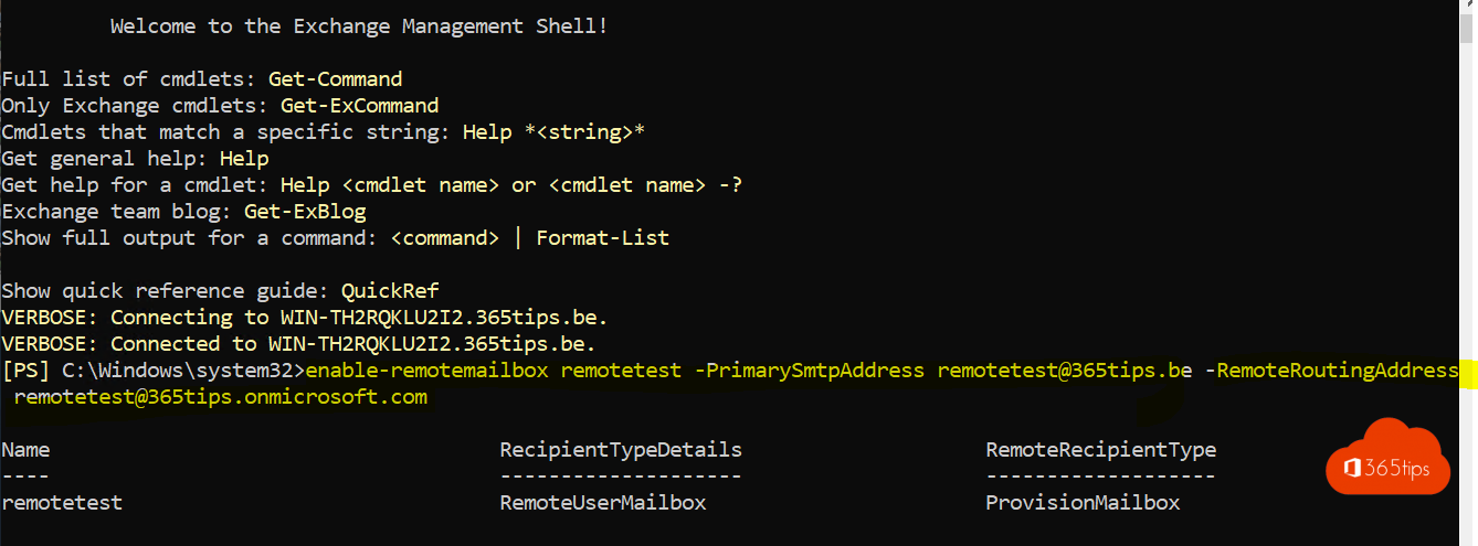 Exchange RemoteMailbox Script Powershell