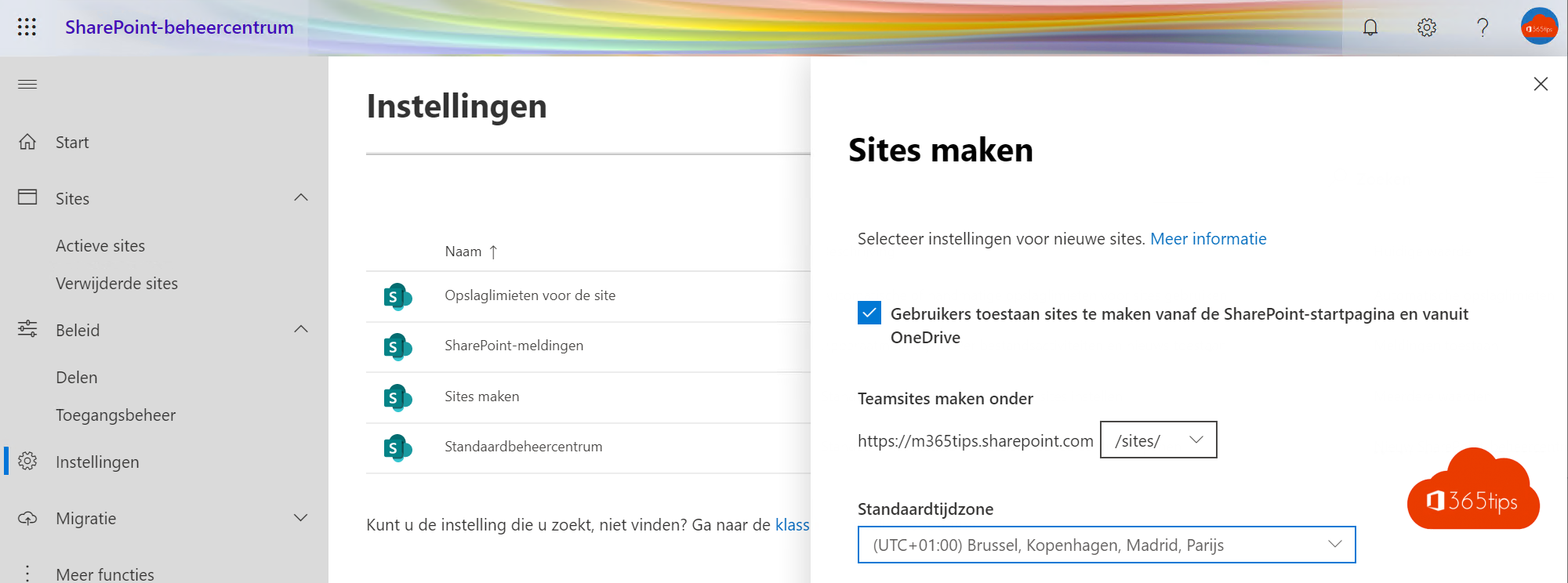 Sites Maken SharePoint