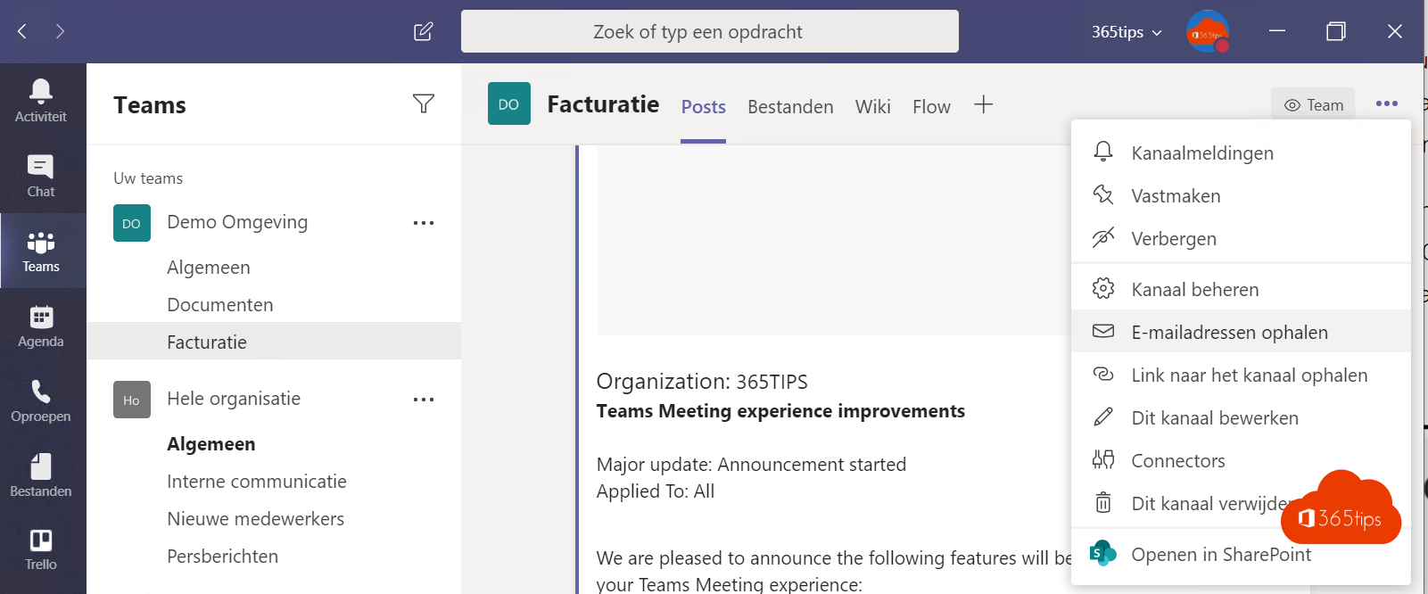 E-mail adres Microsoft Teams