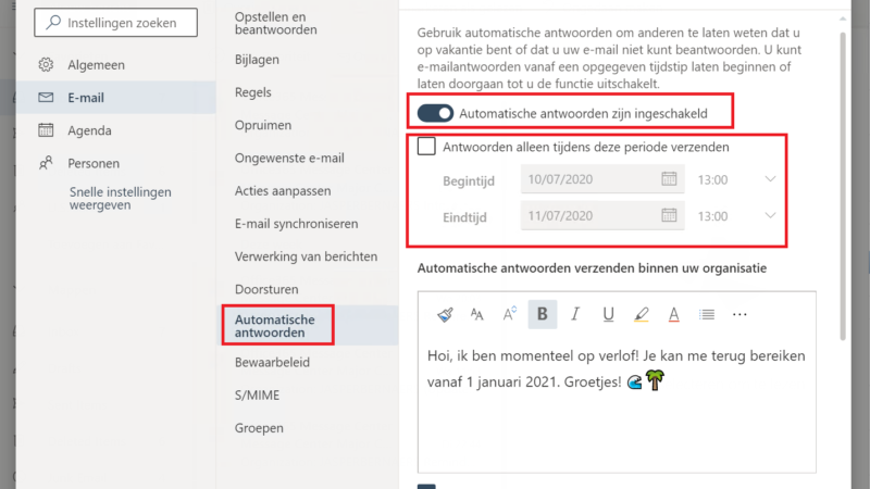 Out of office instellen in office 365!