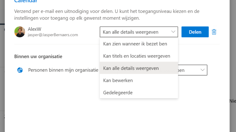 Je Outlook agenda delen in Office 365