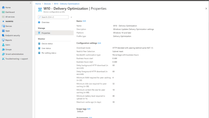 delivery optimization best-practises voor Microsoft EndPoint Manager
