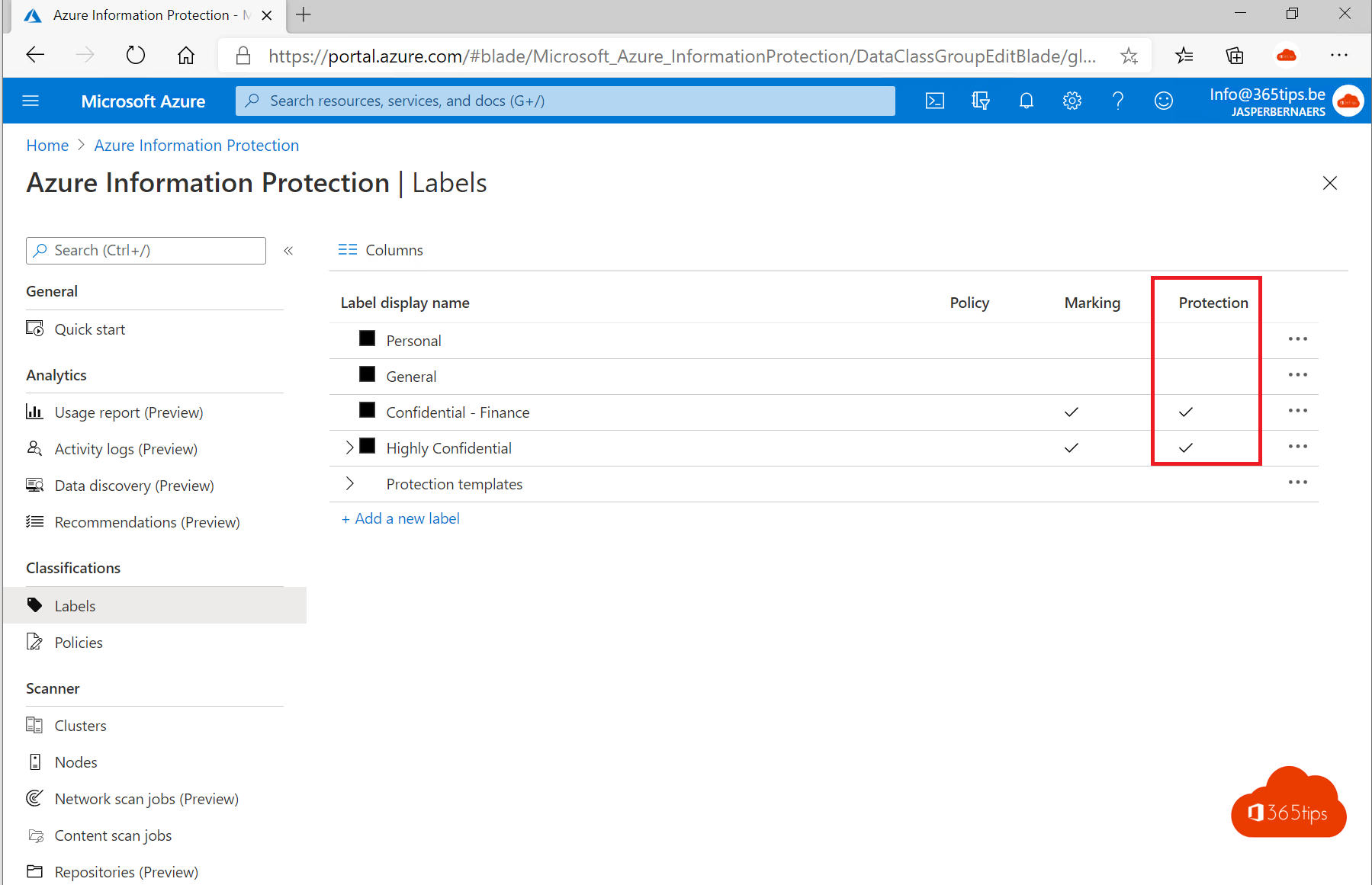High-level activatie van Azure Information Protection voor Office 365