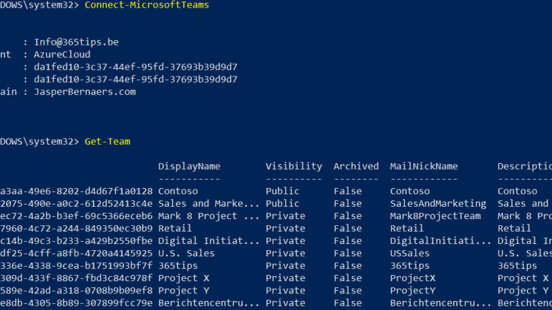 Beheer van Microsoft Teams via PowerShell