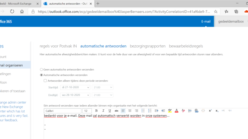Out of office instellen op een Office 365 Shared Mailbox