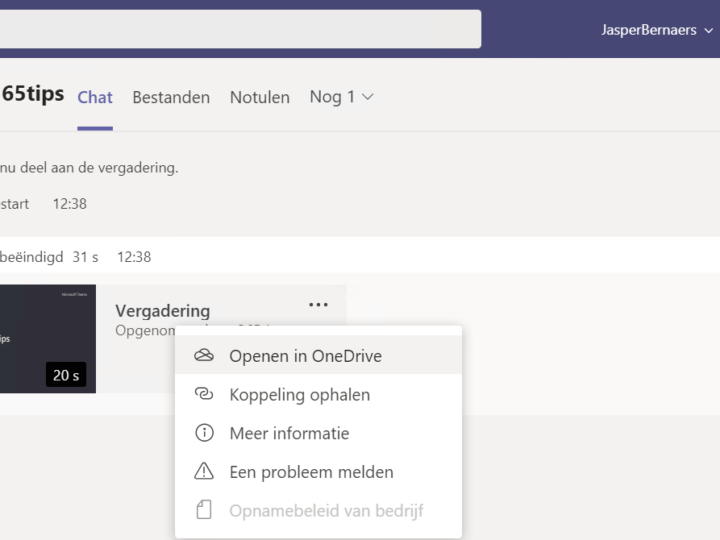 Teams meeting opname automatisch opslaan in OneDrive For Business!