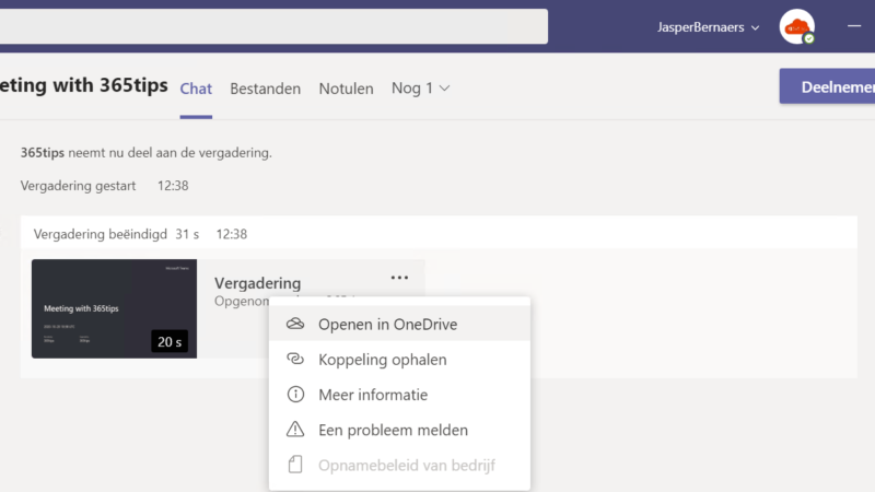 vergadering opname automatisch opslaan in OneDrive For Business! – Microsoft Teams