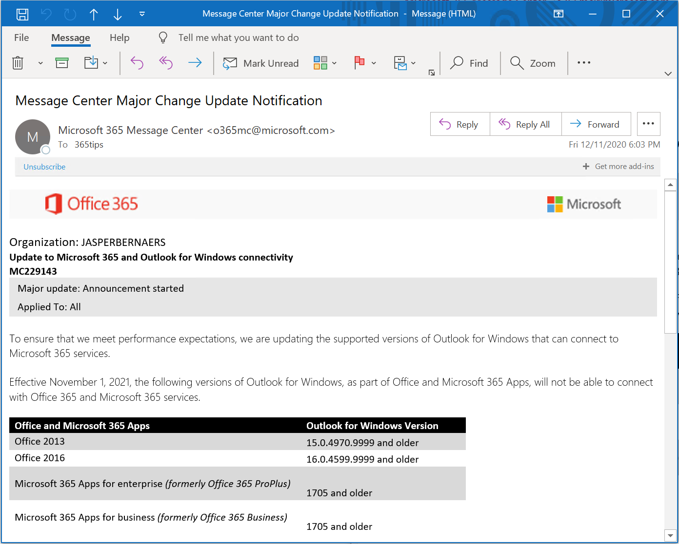 Outlook Connectiviteit Update voor Office 2013 en 2016 – EXO MC229143