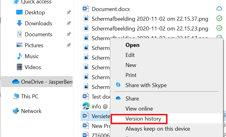 Versiegeschiedenis in Microsoft OneDrive, SharePoint of Teams