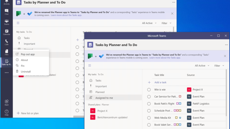 Nieuw! Pop out Applicaties in Microsoft Teams! Meerdere vensters apps
