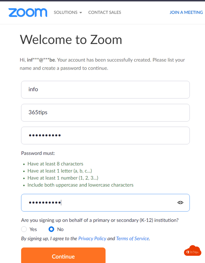 Create an account in Zoom