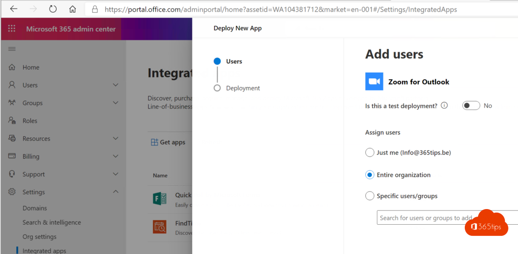 Zoom Integrated Apps Office 365 Admin Center