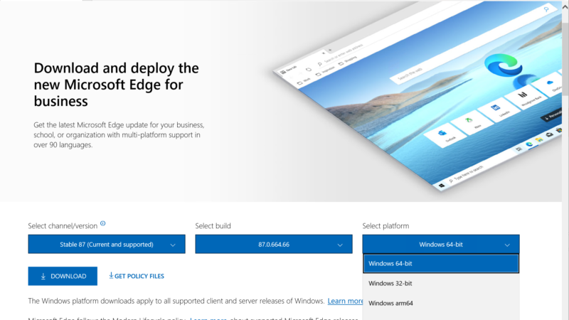 Download en deploy Microsoft Edge for business Server 2016 / 2019