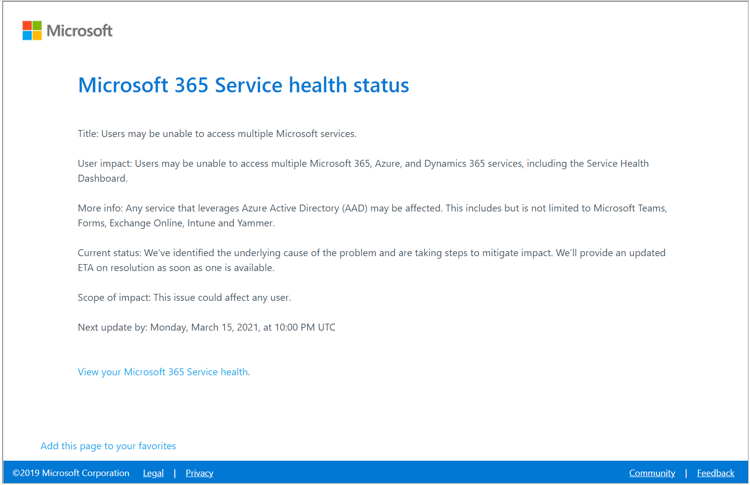 Help?! Office 365 = Down! Microsoft 365 Service Health Status